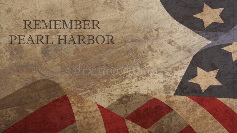 Recorde a ilustração do Pearl Harbor Os EUA embandeiram na madeira ilustração stock