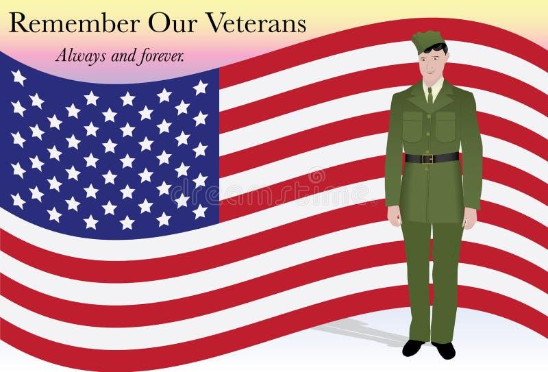 Recorde nossos veteranos ilustração stock