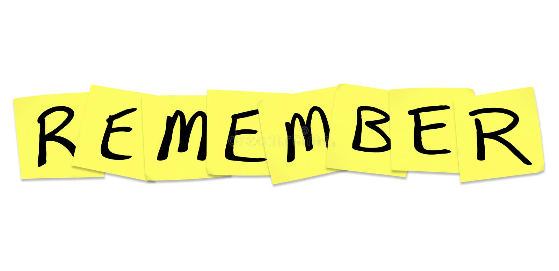 Recorde - a palavra em notas pegajosas amarelas ilustração stock