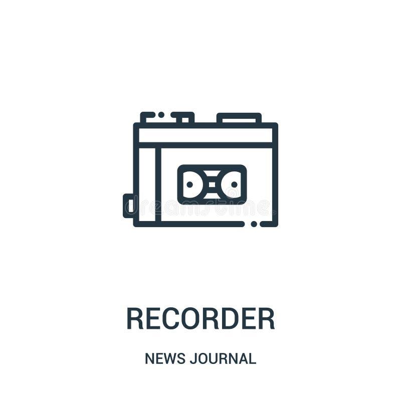 Recorderikonenvektor von der Nachrichtenzeitschriftensammlung Dünne Linienschreiberentwurfsikonen-Vektorillustration Lineares Sym stock abbildung