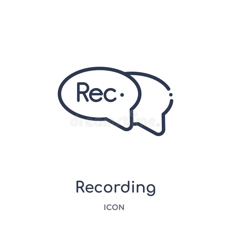 recording conversation icon from user interface outline collection. Thin line recording conversation icon isolated on white stock illustration