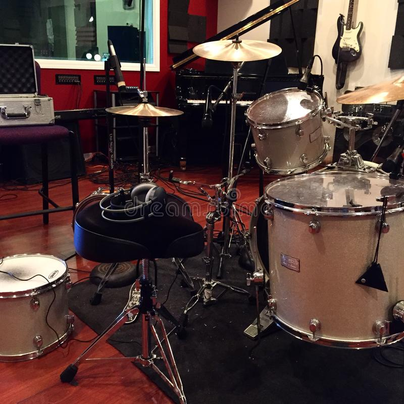 Recording Drums Studio royalty free stock image