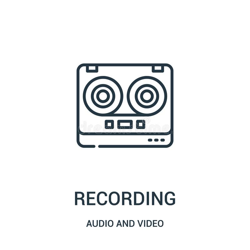 recording icon vector from audio and video collection. Thin line recording outline icon vector illustration royalty free illustration