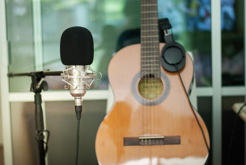 Recording room Singing concept royalty free stock photo