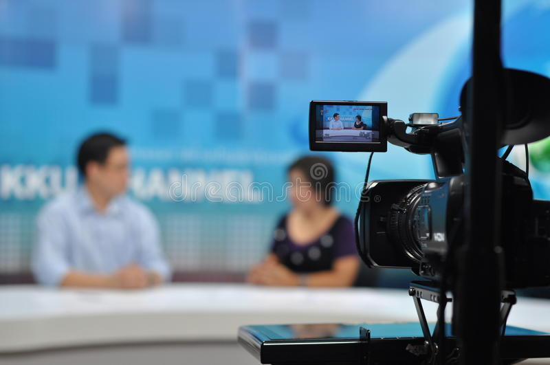 Recording show in TV stock image