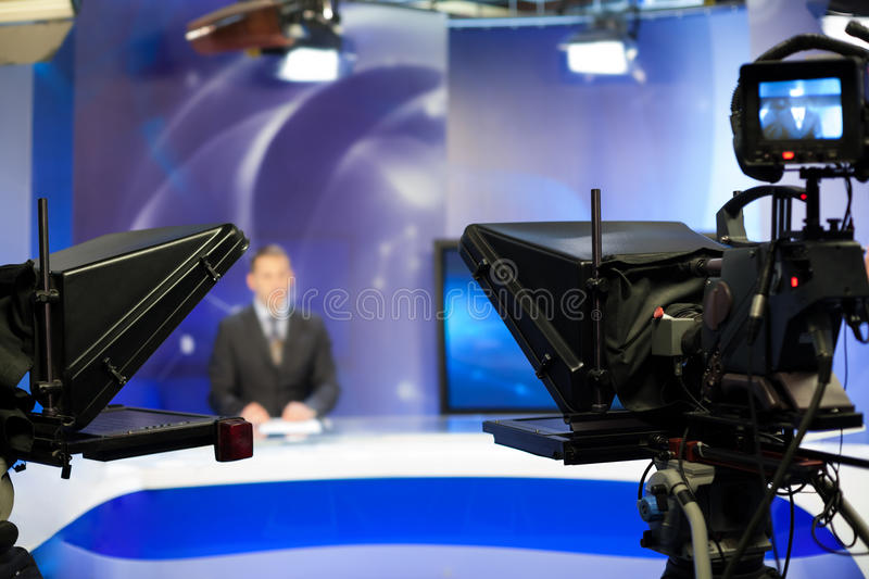 Recording show in TV studio royalty free stock photo