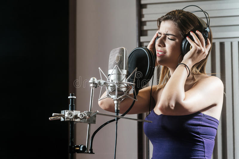 Recording a song royalty free stock photography