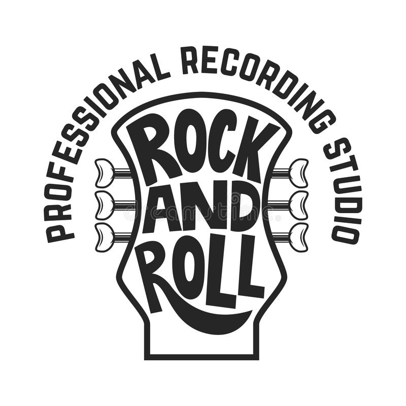 Recording studio. Guitar head with lettering. Rock and roll. Design element for logo, label, emblem, sign. royalty free illustration