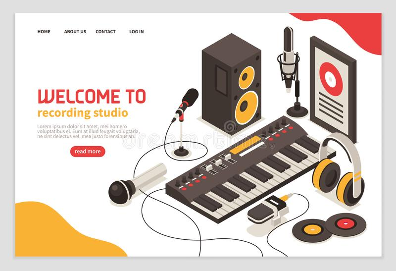 Recording Studio Isometric Poster royalty free illustration