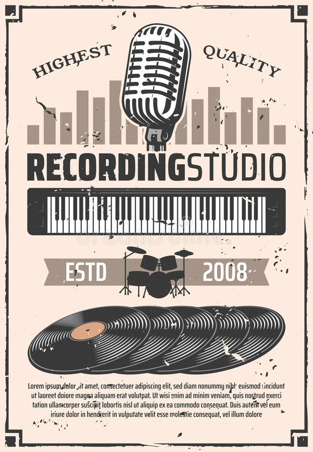 Recording studio microphone, vinyl discs. Recording studio, retro microphone and vinyl discs. Music albums, drums silhouette and electric synthesizer. Vector vector illustration