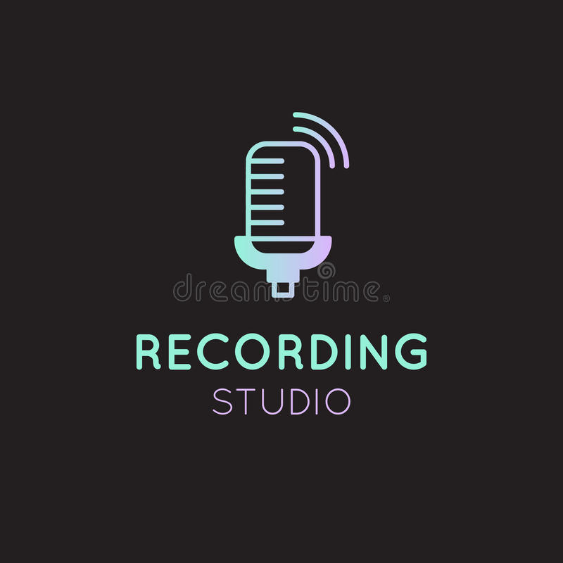 Recording Studio Neon Gradient Label vector illustration