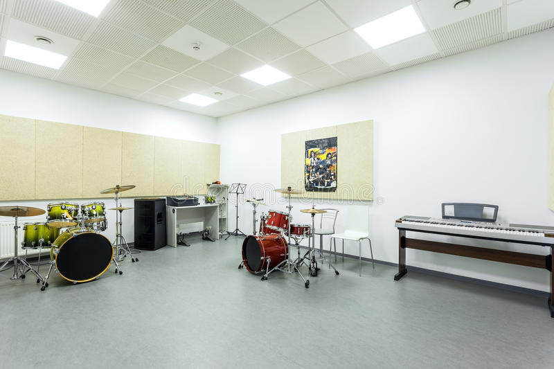 Recording Studio Percussion of the Academy of modern education interior royalty free stock photo