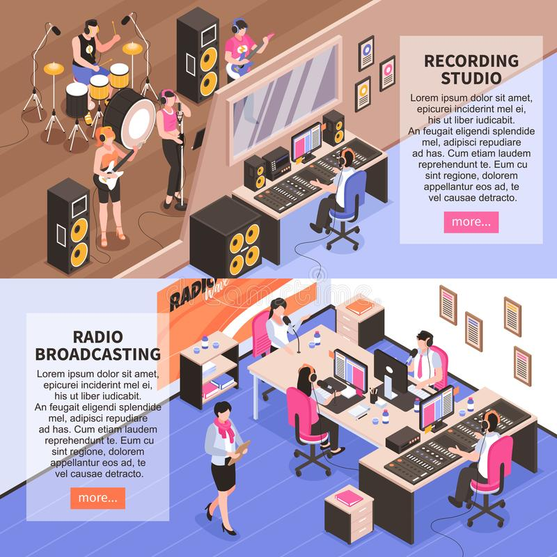 Recording Studio And Radio Broadcasting vector illustration