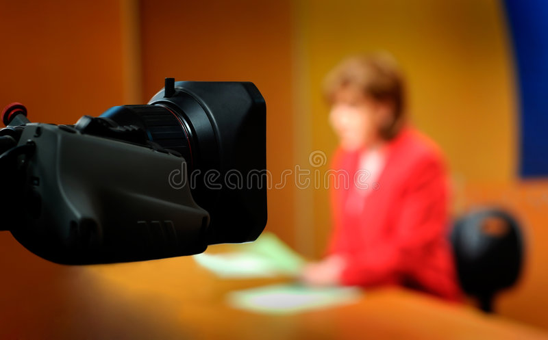 Recording in TV studio royalty free stock photos