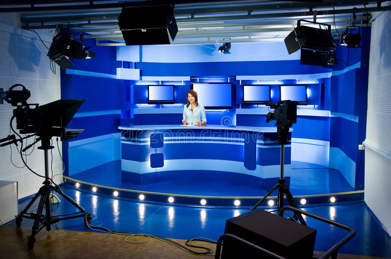 Recording at TV studio royalty free stock photos