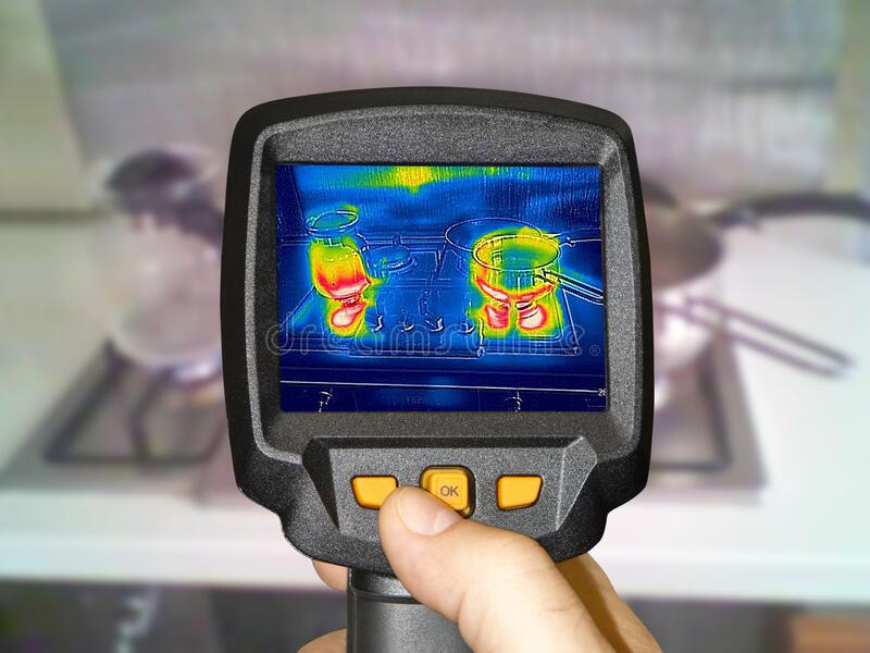 Recording whit Thermal camera, cooking on a gas stock photos