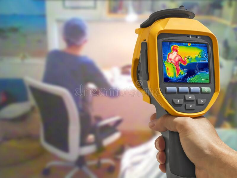 Recording whit Thermal camera, Young Girl using laptop royalty free stock image
