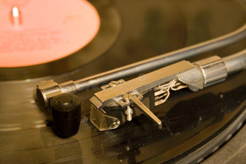 Recordplayer com registros pretos do lp imagens de stock