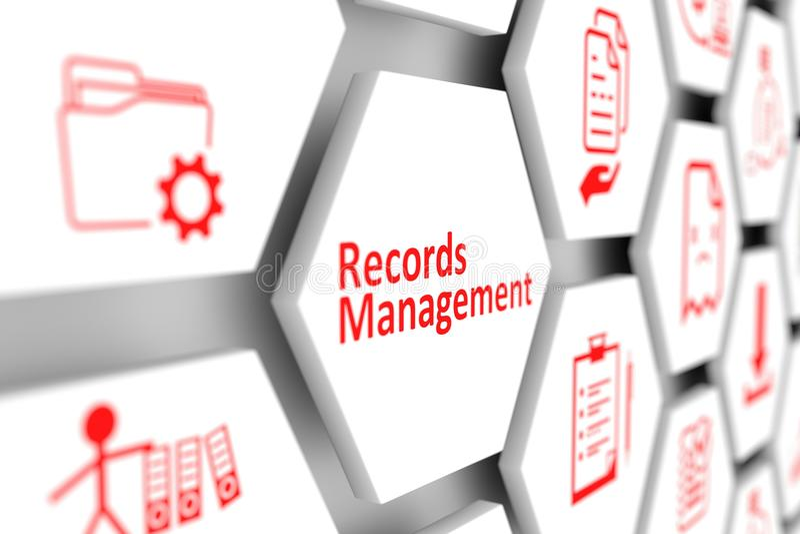 Records management concept cell blurred background. 3d illustration vector illustration