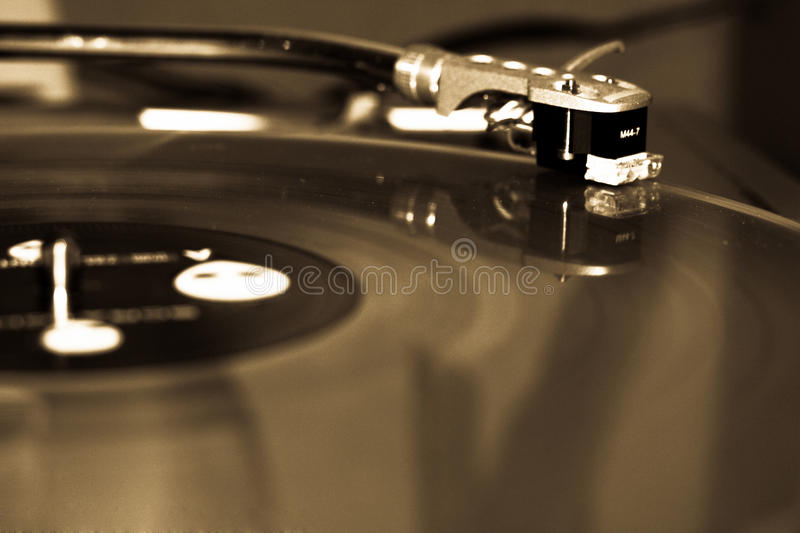 Records. Old Turn table black and white stock photography