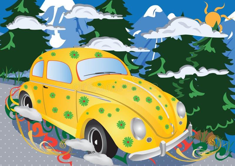 Recorrido de coche retro ilustración del vector