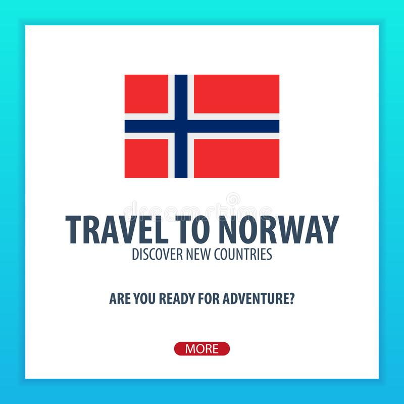 Recorrido a Noruega Descubra y explore los nuevos países Viaje de la aventura libre illustration