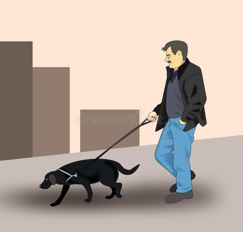Recorriendo el perro ilustración del vector