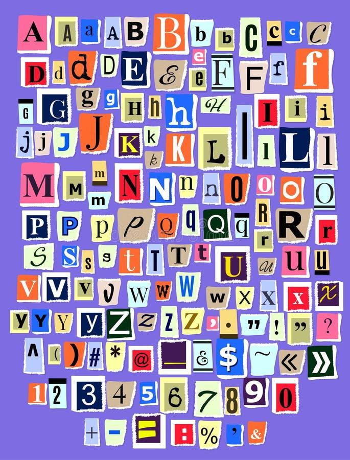 Recorte alfabético de la letra de la fuente del vector de ABC del collage del alfabeto de la revista del periódico y de hecho a m stock de ilustración