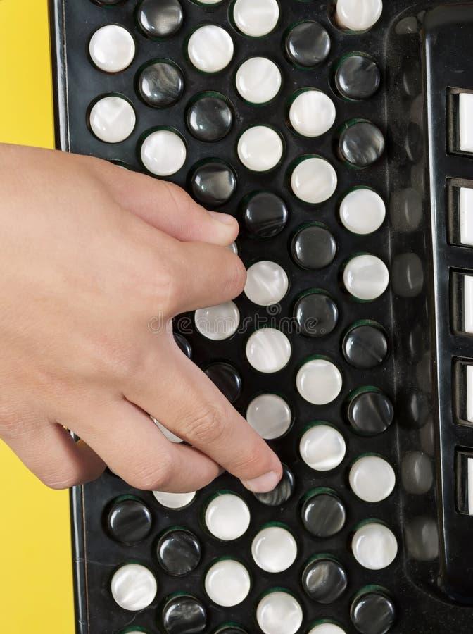 Recorte con un muchacho que juega el acordión fotografía de archivo