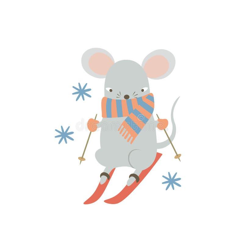 Recorte de esquí del ratón Graciosa rata de caricaturas disfrutando de actividades deportivas de invierno Símbolo humanizado del  ilustración del vector