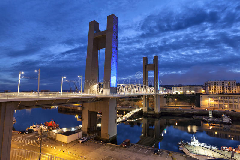 Recouvrance Bridge, Brest, France. Recouvrance Bridge (Pont de Recouvrance) - a massive drawbridge 64 m high in Brest, Brittany, France royalty free stock image
