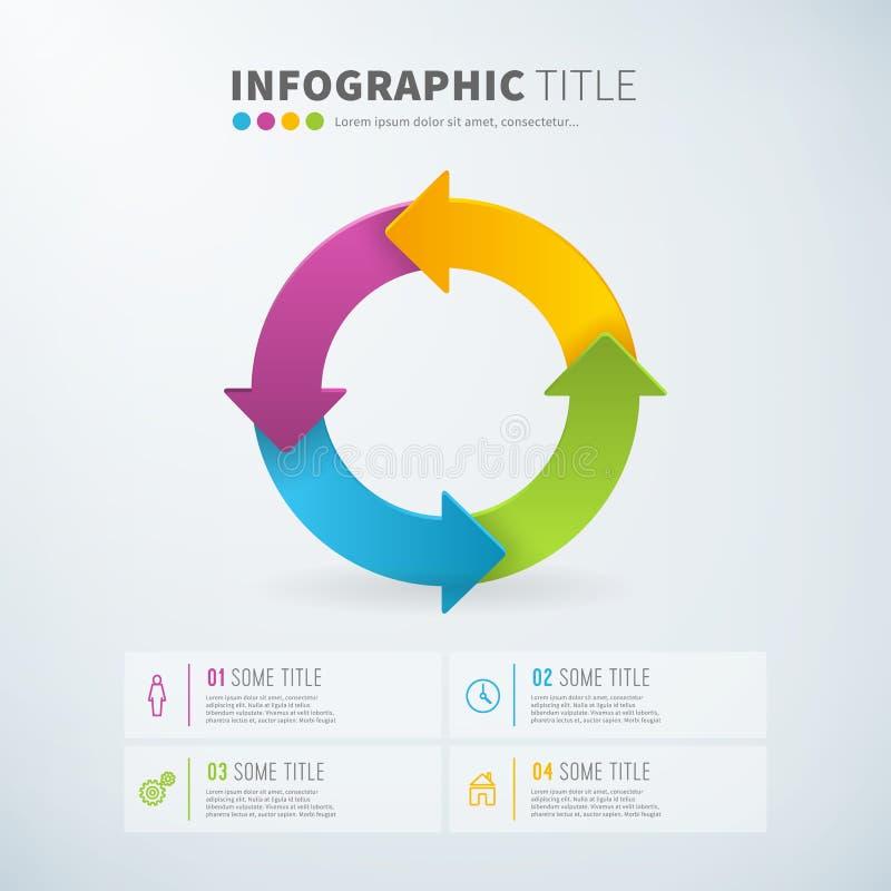 Recouvrements infographic de temps de diagramme de flèche de cercle d'affaires illustration libre de droits