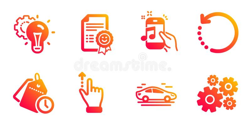 Recovery data, Time management and Music phone icons set. Car, Idea gear and Touchscreen gesture signs. Vector. Recovery data, Time management and Music phone vector illustration