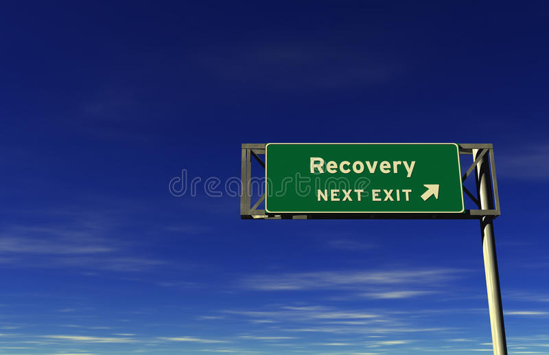 Recovery - Freeway Exit Sign stock photo