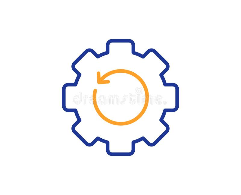 Recovery gear line icon. Backup data sign. Restore information. Vector. Backup data sign. Recovery gear line icon. Restore information symbol. Colorful outline vector illustration