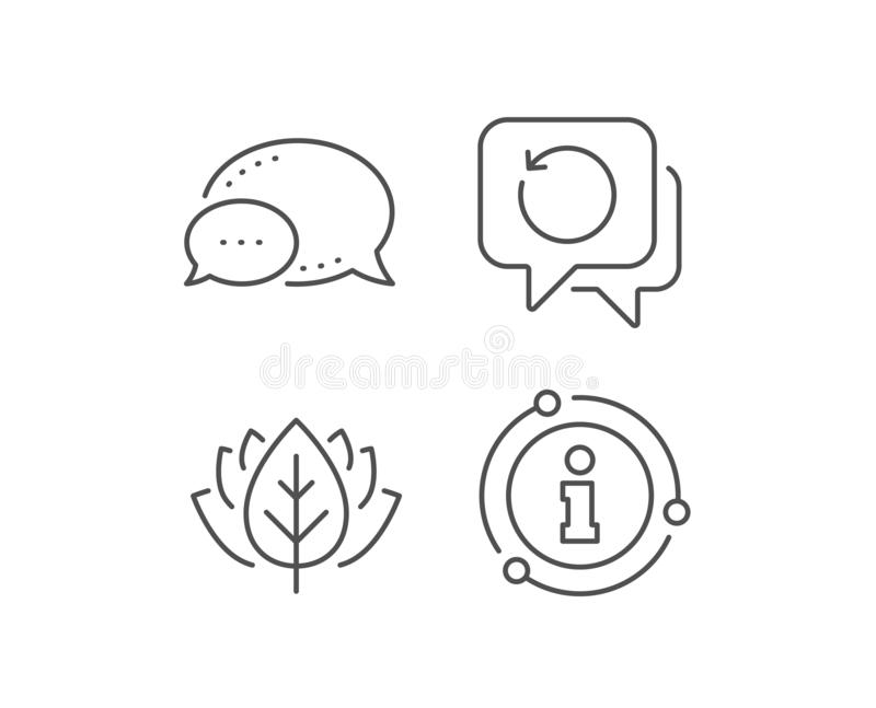 Recovery info line icon. Backup data sign. Restore information. Vector. Recovery info line icon. Chat bubble, info sign elements. Backup data sign. Restore royalty free illustration