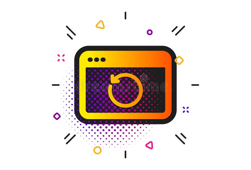 Recovery internet icon. Backup data sign. Restore information. Vector. Backup data sign. Halftone circles pattern. Recovery internet icon. Restore information royalty free illustration