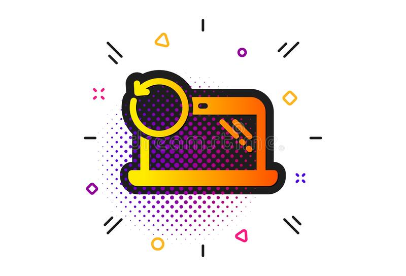Recovery laptop icon. Backup data sign. Restore smartphone information. Vector. Backup data sign. Halftone circles pattern. Recovery laptop icon. Restore stock illustration