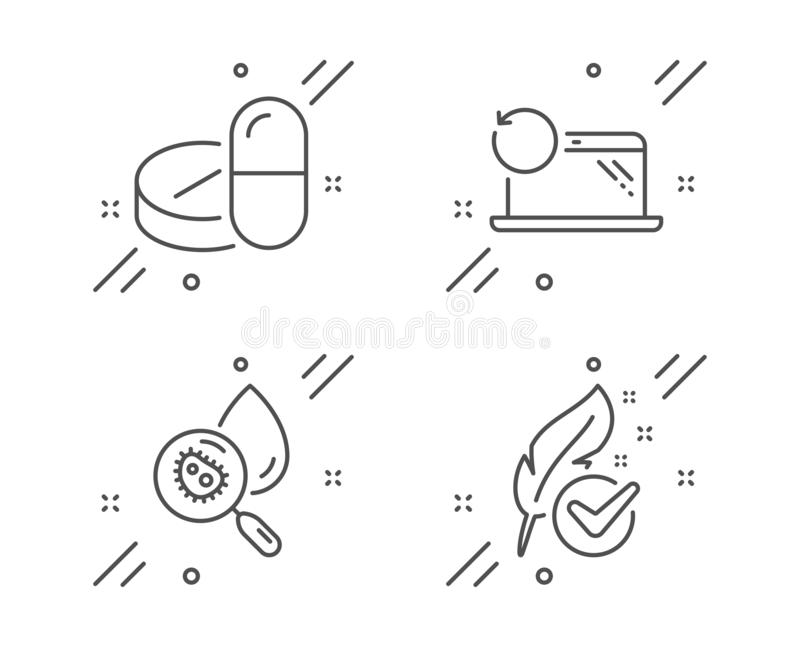 Recovery laptop, Medical drugs and Water analysis icons set. Hypoallergenic tested sign. Vector. Recovery laptop, Medical drugs and Water analysis line icons set stock illustration