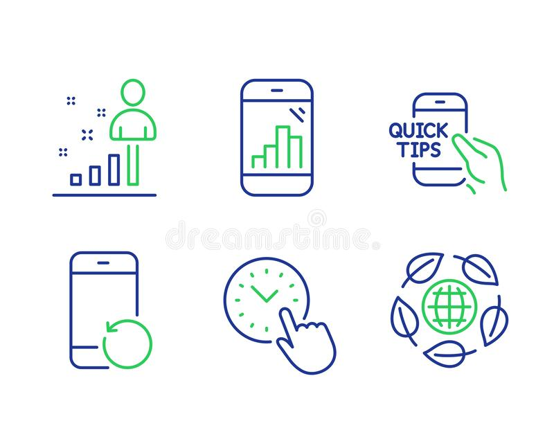 Recovery phone, Stats and Graph phone icons set. Time management, Education and Eco organic signs. Vector. Recovery phone, Stats and Graph phone line icons set stock illustration