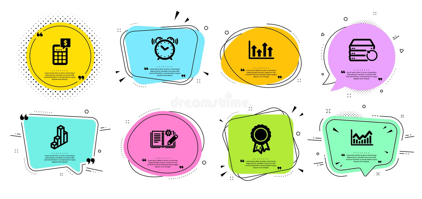 Recovery server, Alarm clock and Infochart icons set. Calculator, 3d chart and Upper arrows signs. Vector. Recovery server, Alarm clock and Infochart line icons royalty free illustration