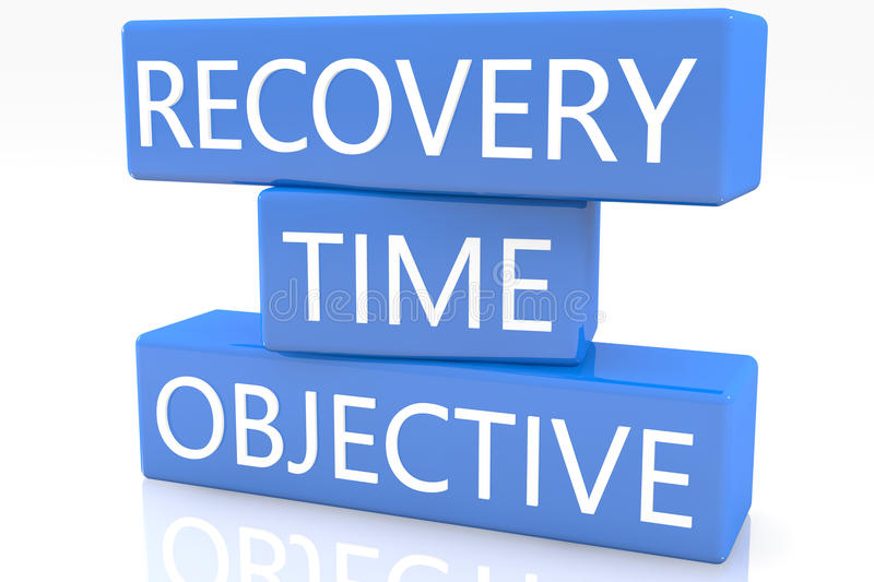 Recovery Time Objective. 3d render blue box with text Recovery Time Objective on it on white background with reflection royalty free illustration