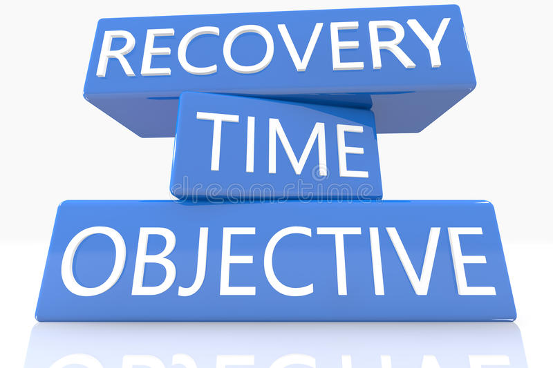 Recovery Time Objective. 3d render blue box with text Recovery Time Objective on it on white background with reflection stock illustration