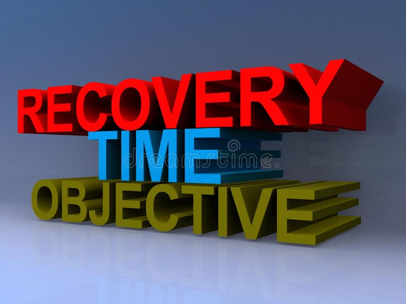Recovery time objective illustration. Recovery time objective illustrated in 3D block text graphics in red, blue and green stock illustration