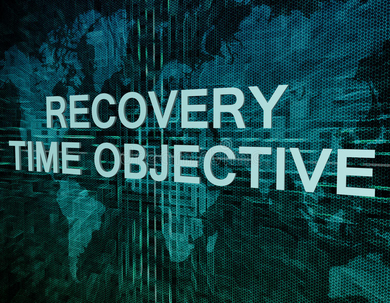 Recovery Time Objective. Text concept on green digital world map background vector illustration