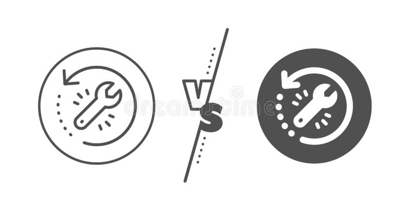 Recovery tool line icon. Backup data sign. Restore information. Vector. Backup data sign. Versus concept. Recovery tool line icon. Restore information symbol stock illustration