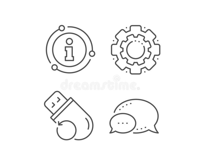 Recovery usb memory line icon. Backup data sign. Restore information. Vector. Recovery usb memory line icon. Chat bubble, info sign elements. Backup data sign royalty free illustration