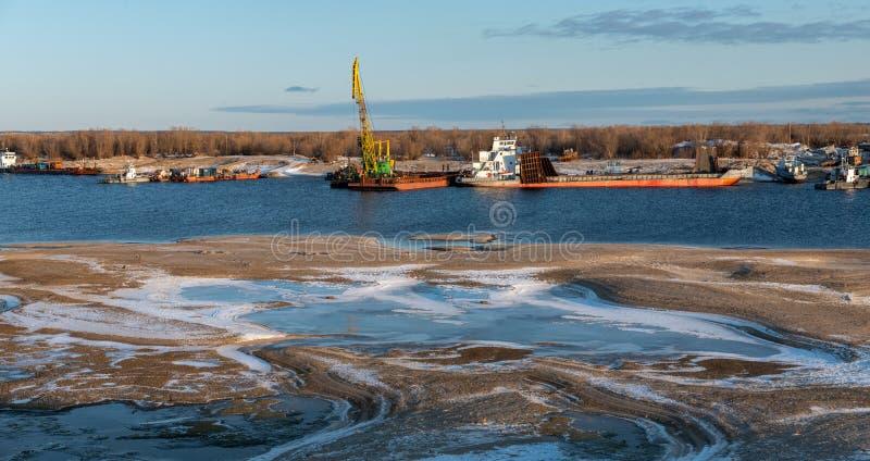 Recovery vessels on coastal winter parking in Yakutsk, Sakha Republic, stock images