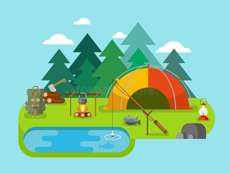 Recreação ao ar livre Acampamento da pesca ilustração stock