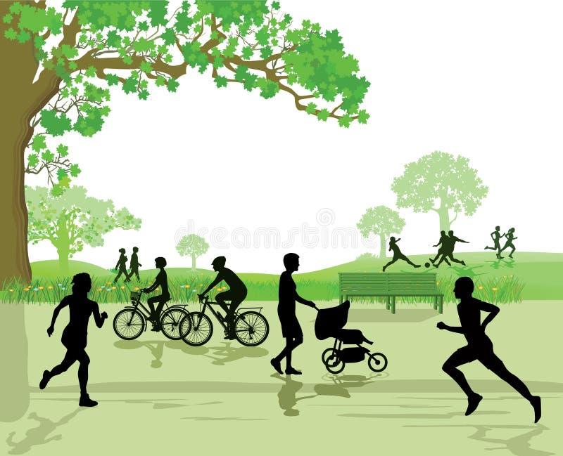 Recreação e esportes no parque ilustração royalty free
